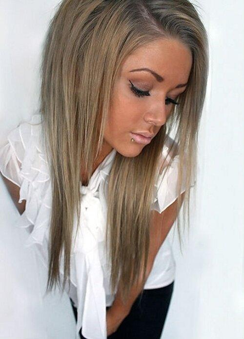Еще один вариант пепельного мелирования на средне-русые волосы