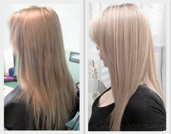 Эффектное пепельное мелирование на светлых волосах придает сияющий холодный оттенок
