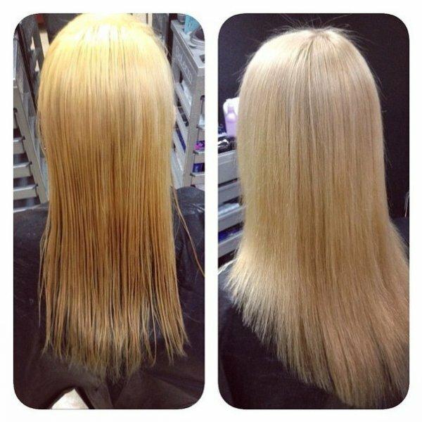 Жемчужное тонирование на светлых волосах