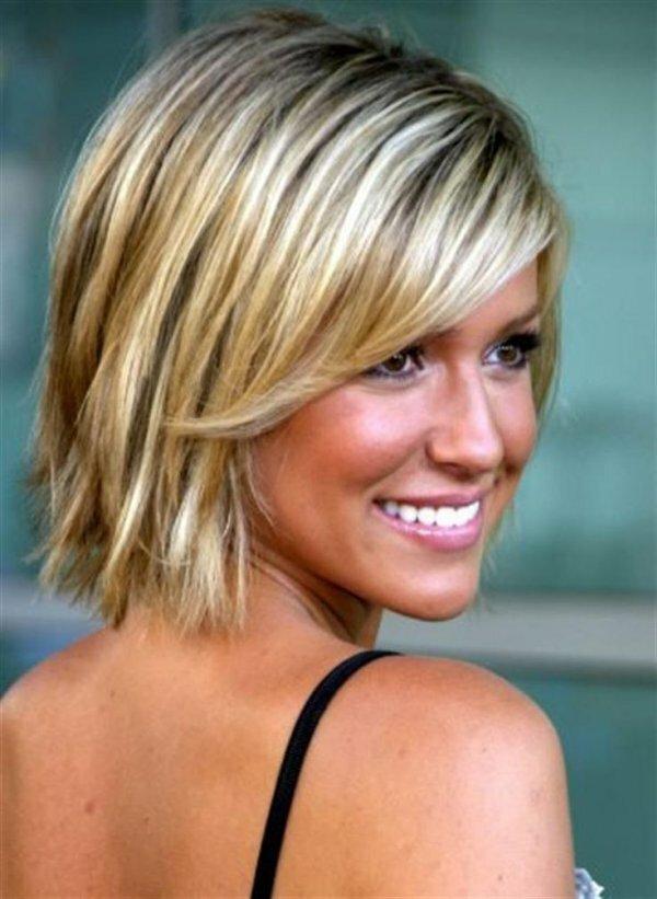 Частое мелирование коричневых волос