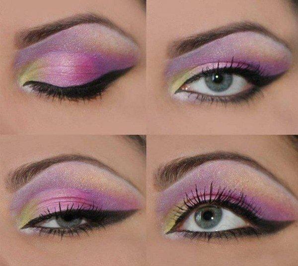 Фантазийный макияж со стрелками и тремя оттенками теней