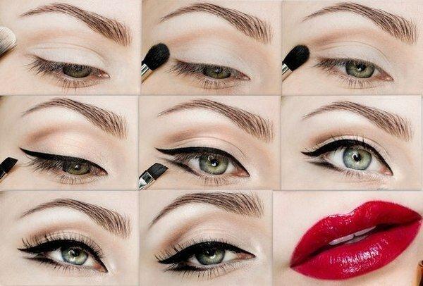 Как правильно нарисовать стрелки: яркий макияж в ретро-стиле