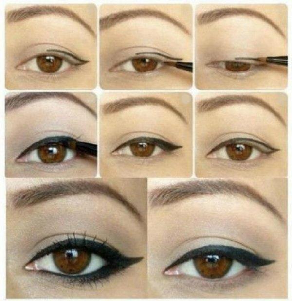 Рисовать подводкой яркий арабский макияж глаз просто