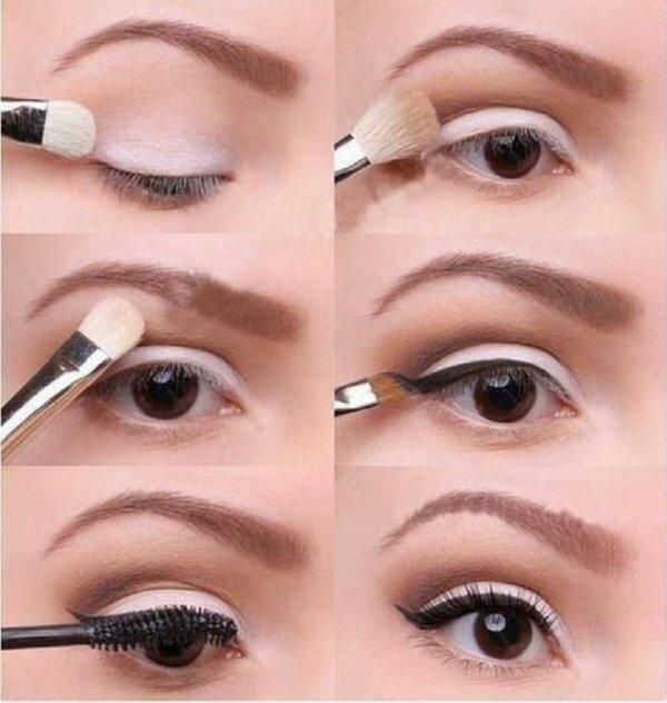 Серебряный макияж глаз со стрелками