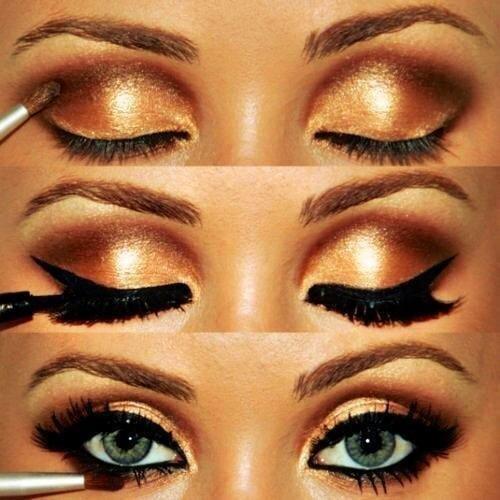 Фантазийный «золотой» макияж