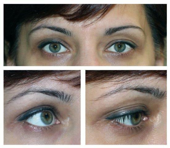 Серый перманентный макияж с растушевкой