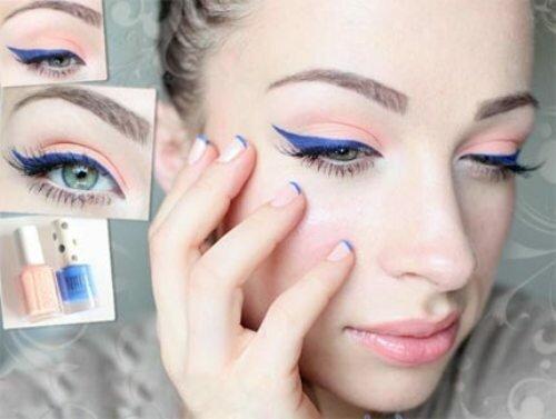 Ярко-синие стрелки и розовые тени для серых глаз