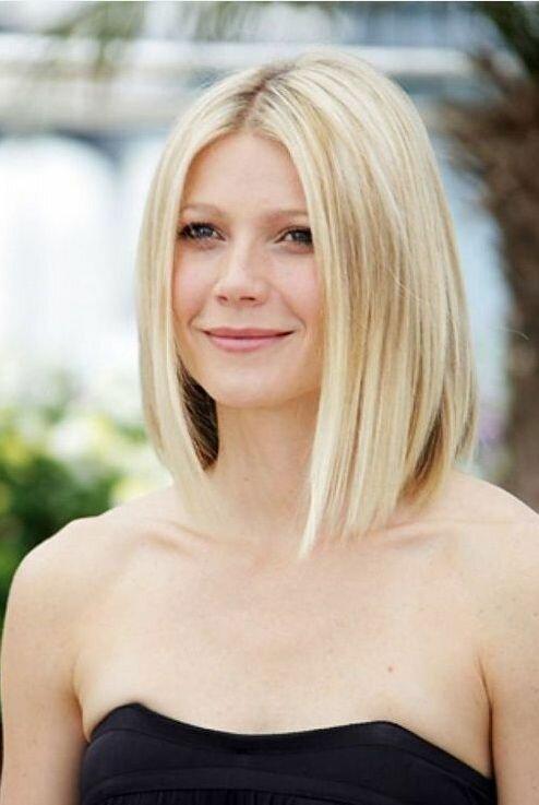 Удлиненное каре на тонкие светлые волосы