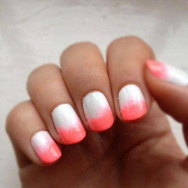 Бело-розовый френч «градиент»