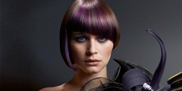 Стильный фиолетовый + асимметричный «боб»