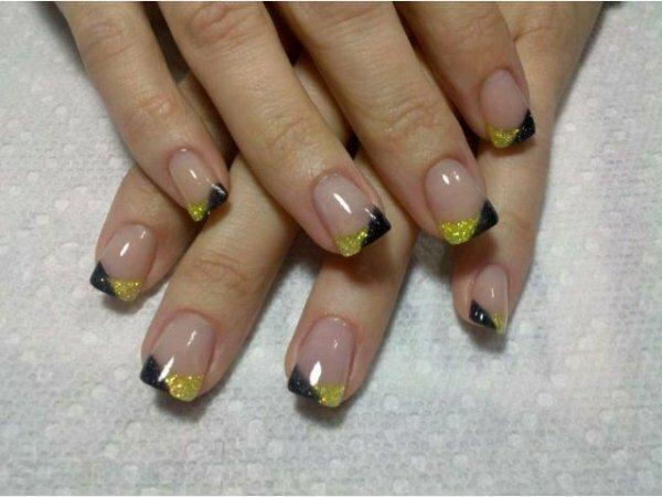 Желто-черный «блестящий» френч + прозрачная основа