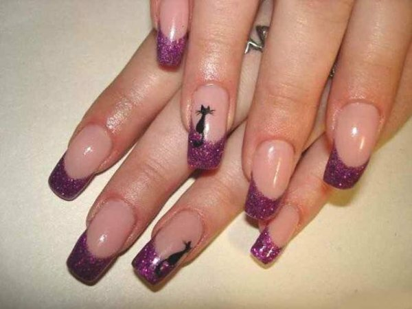 Фиолетовый «блестящий» френч с милыми кошками