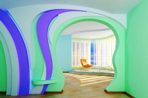 Асимметричная сине-зеленая арка