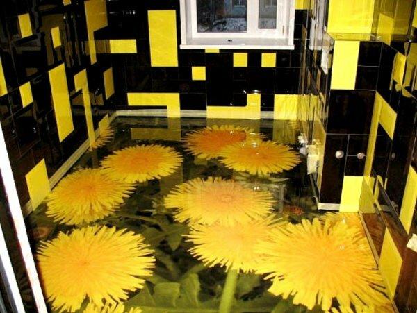 Цветочные мотивы в оформлении наливного пола