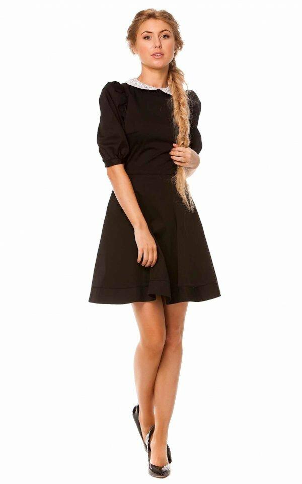 Платье с рукавом-фонариком и небольшим воротничком