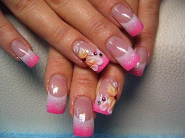 Розовый френч с нежными цветами из акрила