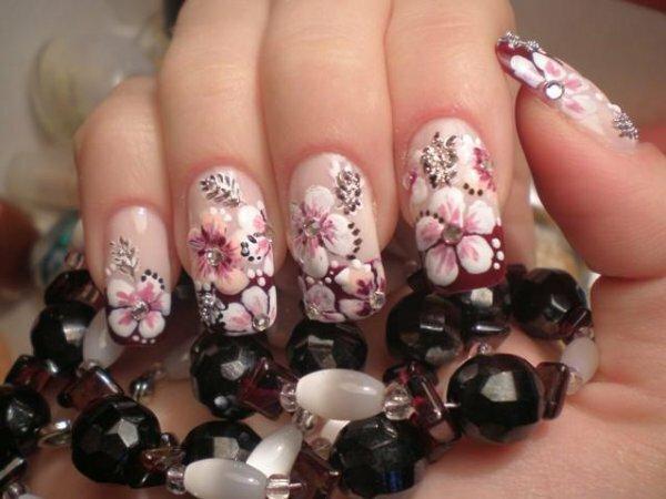 Розовый френч «Цветение орхидеи»