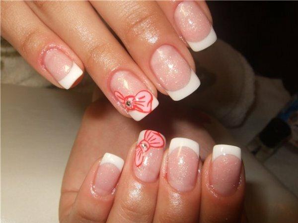 Мерцающий белый «Розовые бантики»