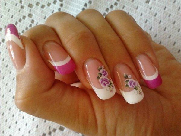 Бело-розовый френч «Розы»
