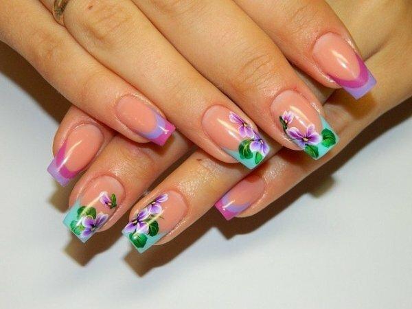 Цветной френч с акварельными цветами
