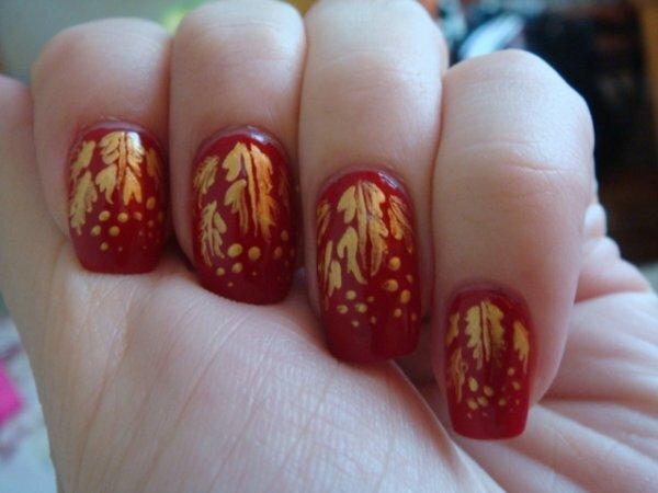 Дубовые листья на красном