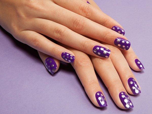 Фиолетовый и серебро – стильные горохи