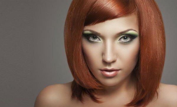 «Медное» частое мелирование на рыжие волосы