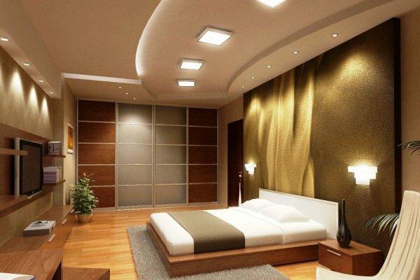 Двухуровневый потолок с точечным освещением разных размеров