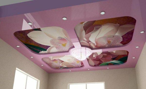 Пик моды – натяжной потолок с фотопринтом, поделенным на секции
