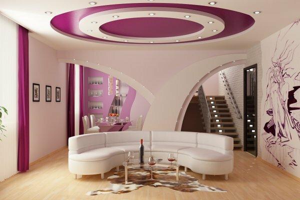 Цвет стен может плавно переходить в потолок, а для лучшего эффекта центральную часть можно делать темнее