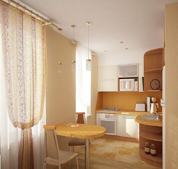 Маленькая барная стойка, разделяющая кухню с комнатой, используется и как обеденный столик