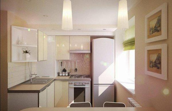 Светлые тона кухни-студии визуально увеличивают пространство
