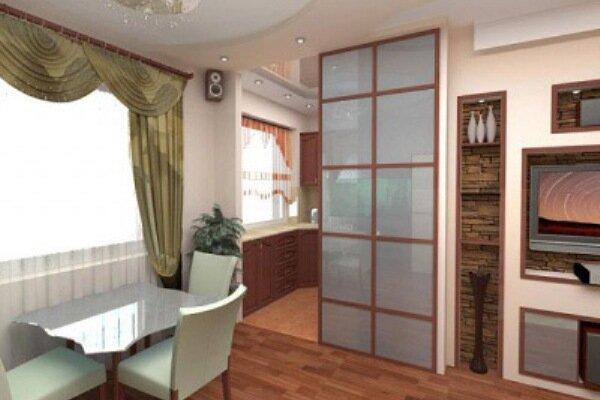 При наличии раздвижной двери запахи с кухни не будут попадать в смежную комнату