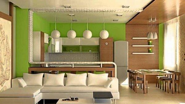Сочетание цветов кухонной мебели с цветовой гаммой стен комнаты выглядит очень стильно