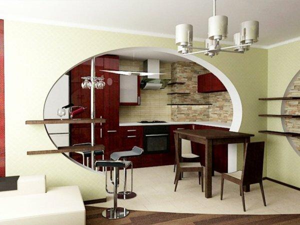 Проем в стене между кухней и столовой может иметь овальную форму