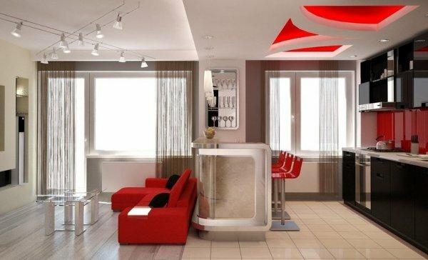 Разделение помещения на зоны при помощи натяжного потолка со светодиодной подсветкой