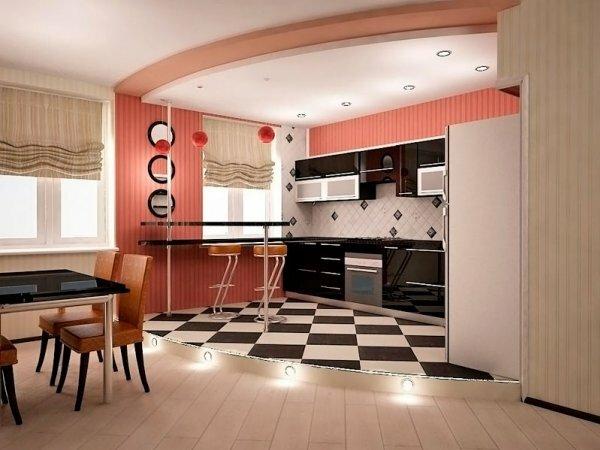 Кухня и зона отдыха четко разделяются цветовым решением
