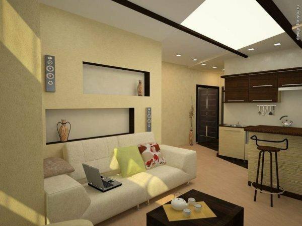Кухня с небольшой барной стойкой добавит изюминку в квартиру-студию