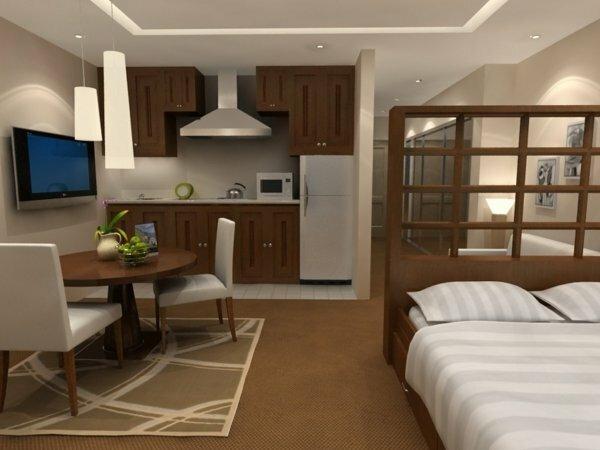 Объединив кухню со спальней, получается еще две дополнительные зоны: столовая и гостиная
