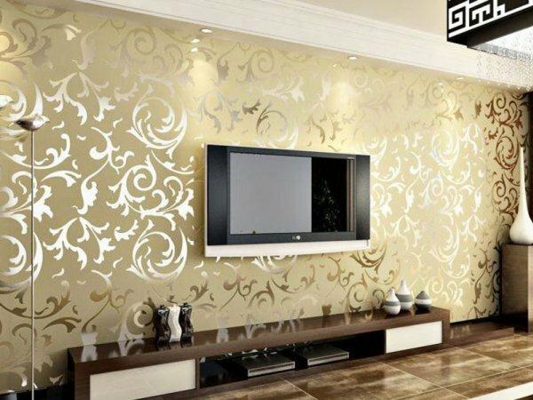 Модные золотые обои с 3D эффектом делают комнату яркой и неповторимой