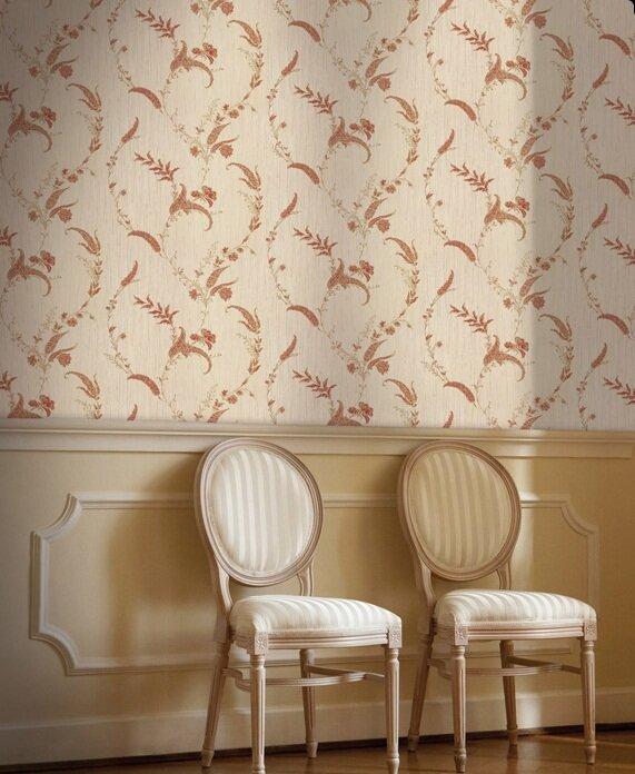 Тяжелые итальянские обои с пестрым рисунком способны скрыть все недостатки вашей стены