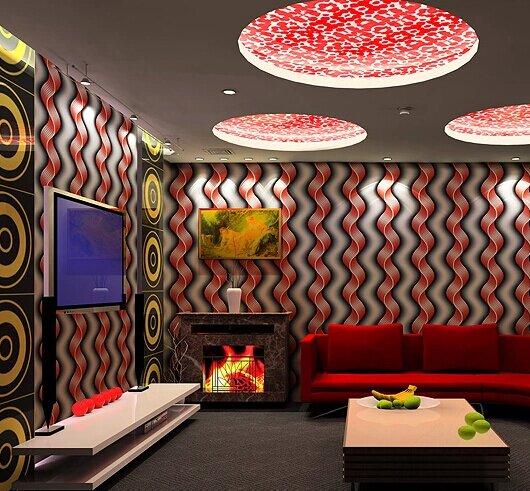 Волнистые полосы придают уникальность комнатам, особенно если они с 3D эффектом