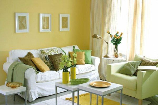 Нежно желтый цвет стен придаст больший уют помещению