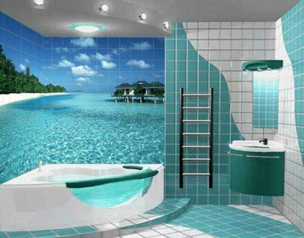 Необычная полупрозрачная ванна непревзойденно гармонирует с фотопринтом плитки