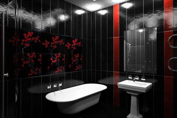 Азиатский стиль в черно-красных тонах