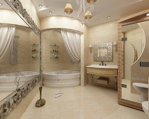Потолок с точечным освещением придает загадочности ванной комнате