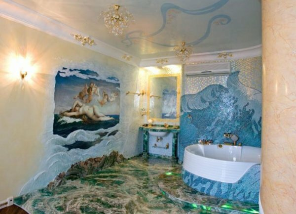 Ванная комната оформлена в стиле 3D-эффекта