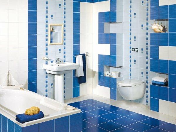 В ванной комнате с такой расцветкой всегда возникает ощущение чистоты