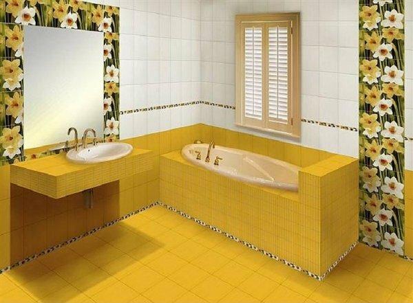 Чаще всего крупный кафель применяют для отделки пола и стен, а мелким отделывают ванну и раковину