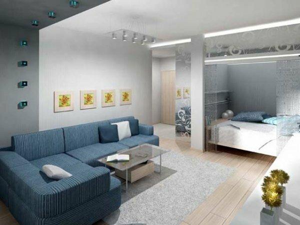 Перегородка-ниша между спальней и гостиной